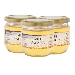 Miel d'Acacia, les 3 pots de 500g