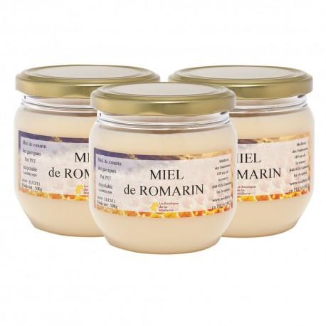 Miel de Romarin, les 3 pots de 500g