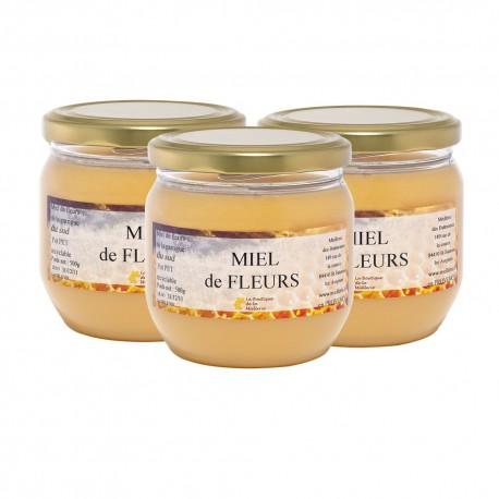 Miel de Fleurs du Sud, les 3 pots de 500g
