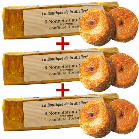 Nonnettes au miel fourrées à l'orange, par 3 rouleaux