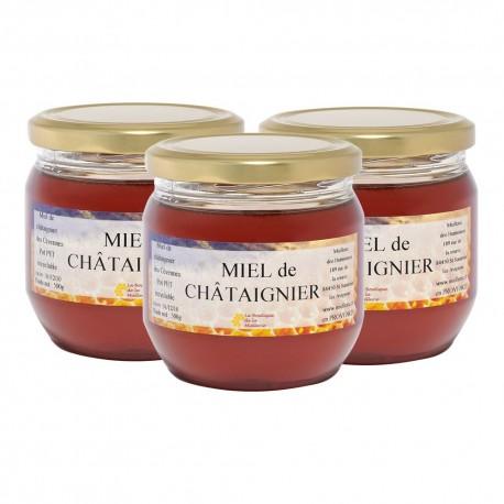 Miel de Châtaignier, les 3 pots de 500g